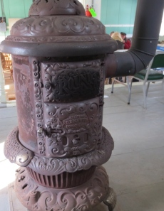 One of two wood-burning stoves used to keep everyone warm.